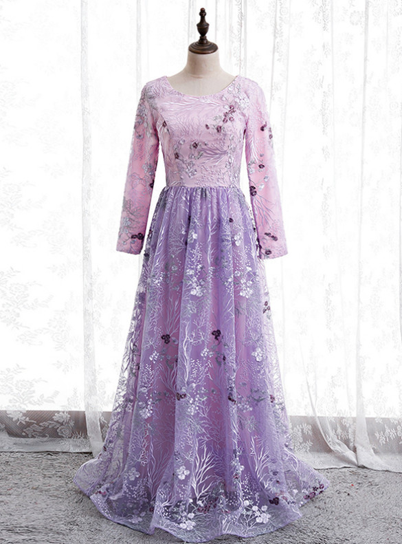 Purple Tulle Embroidery Long Sleeve Prom Dress