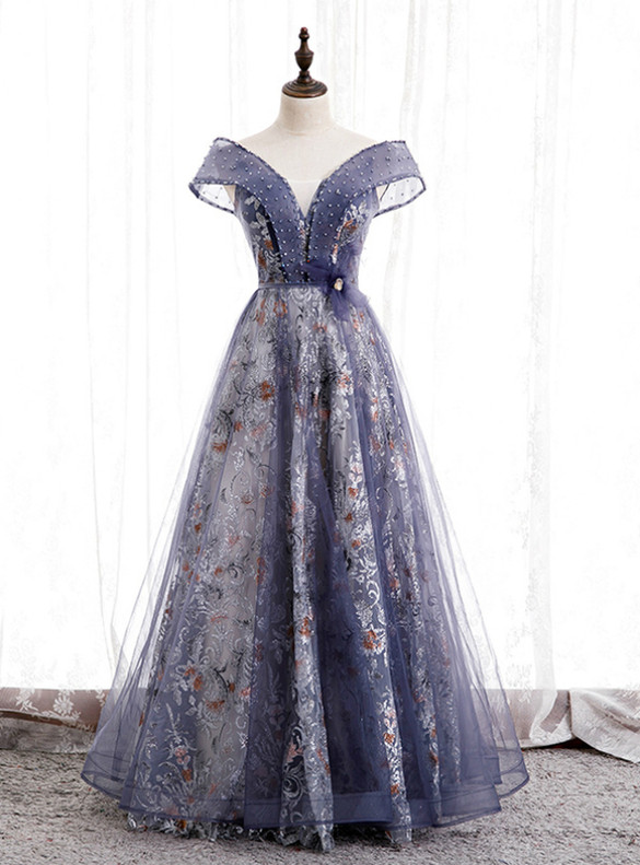Purple Tulle Sequins Off the Shoulder Prom Dress
