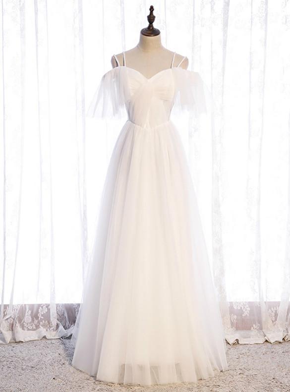 White Tulle Double Spaghetti Straps Prom Dress