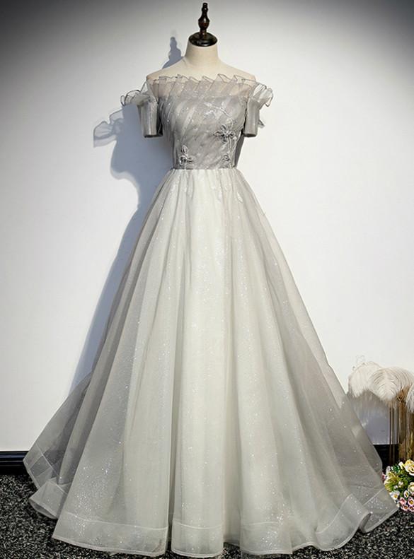 Gray Tulle Sequins Pleats Beading Short Sleeve Prom Dress