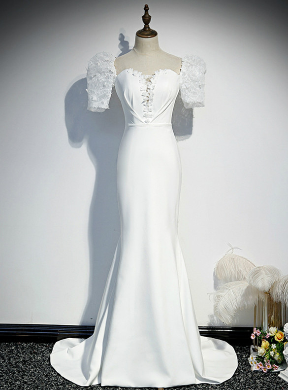 White Mermaid Square Puff Sleeve Appliques Prom Dress