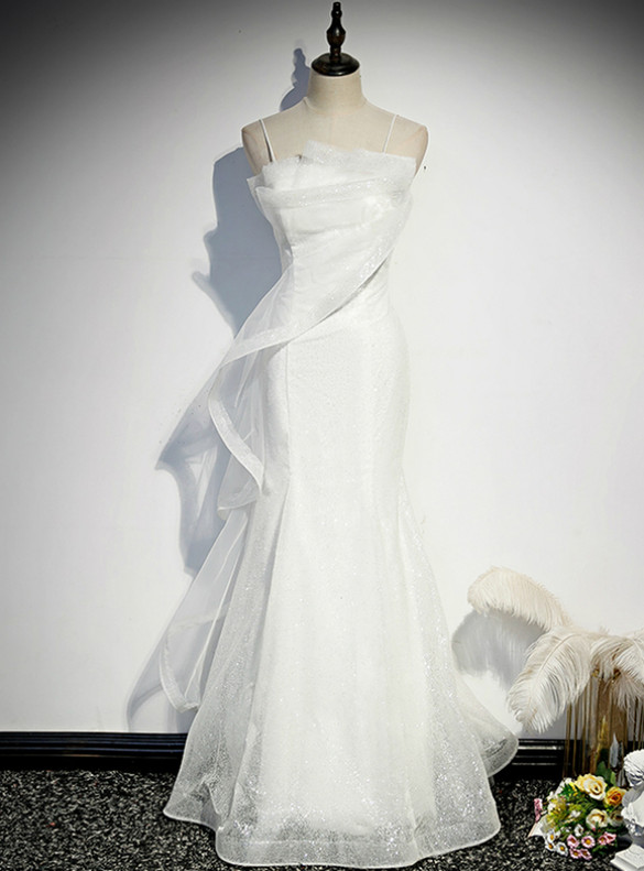 White Mermaid Tulle Sequins Spaghetti Straps Prom Dress