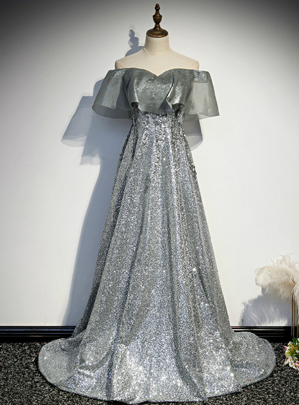 Beautiful Silver Gray Sequins Off the Shoulder Prom Dress