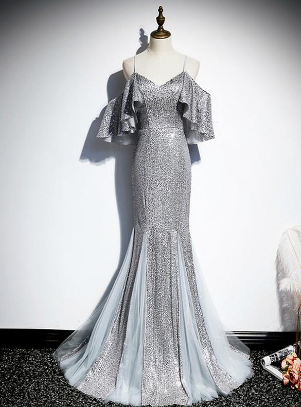 Silver Gray Mermaid Sequins Spaghetti Straps Prom Dress
