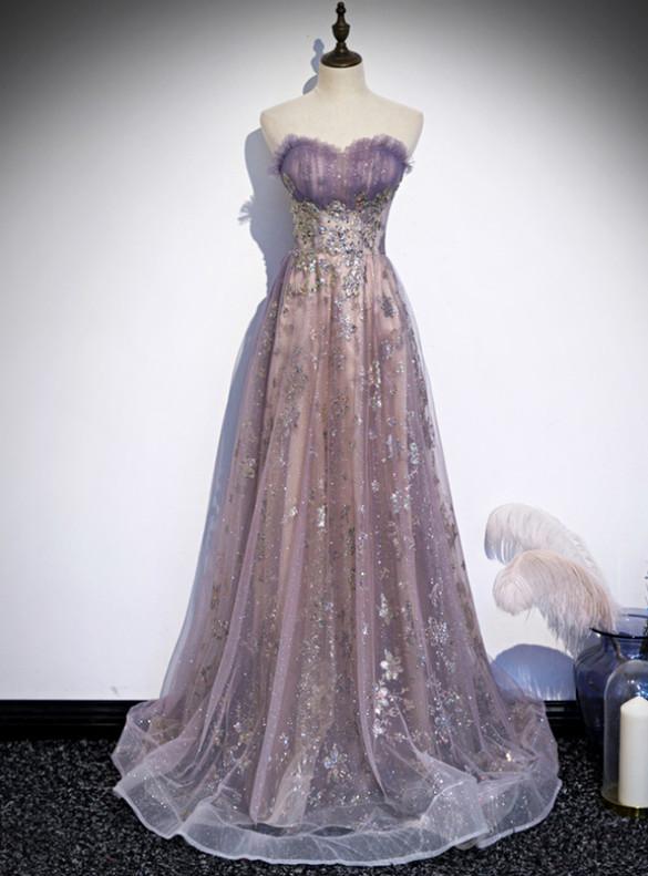 Purple Strapless Sequins Pleats Prom Dress