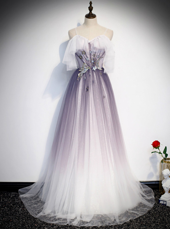 Purple Tulle Sequins Spaghetti Straps Prom Dress With Bow