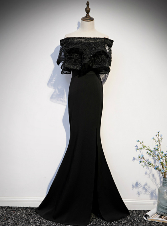 Black Mermaid Lace Off the Shoulder Prom Dress