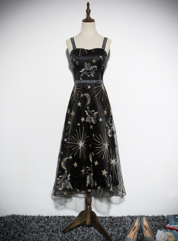 Black Tulle Embroidery Straps Prom Dress