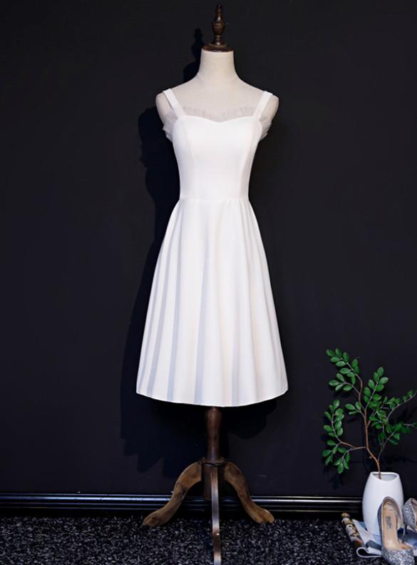 White Straps Tea Length Prom Dress