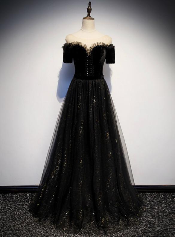 Black Tulle Velvet Short Sleeve Prom Dress