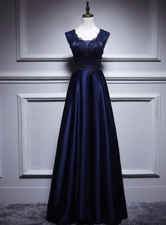Navy Blue Satin V-neck Appliques Beading Prom Dress