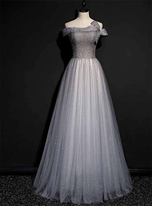 Gray Tulle Sequins Off the Shoulder Beading Prom Dress