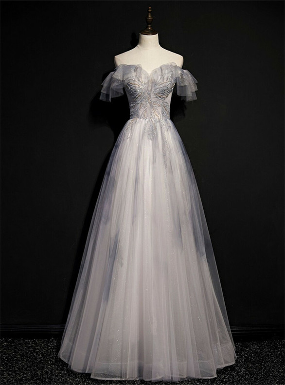 Gray Tulle Sequins Off the Shoulder Prom Dress
