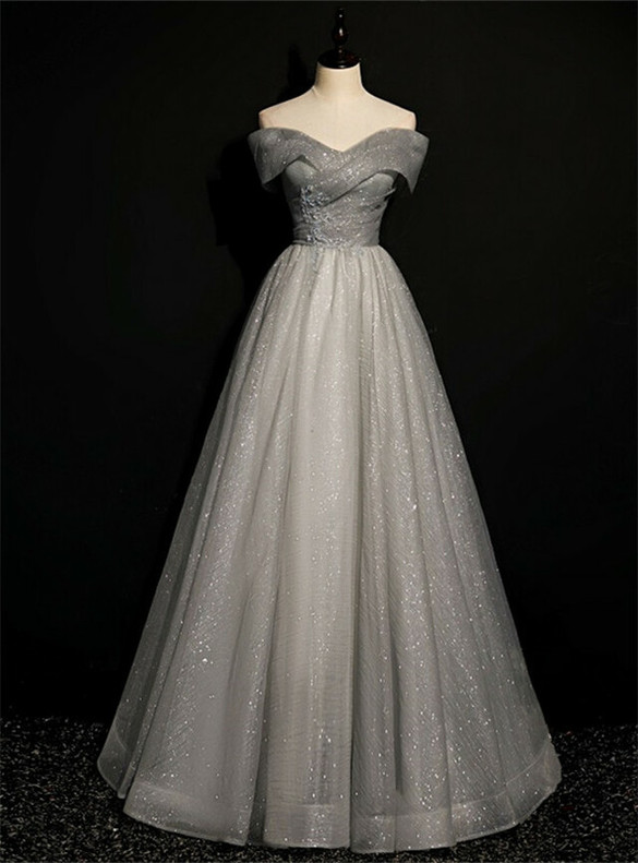 Gray Sequins Tulle Off the Shoulder Beading Prom Dress