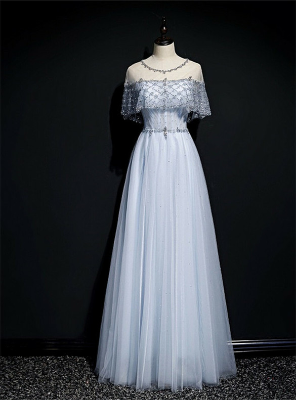 Blue Tulle Beading Sequins Backless Prom Dress