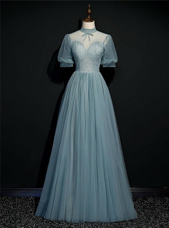 Blue High Nack Short Sleeve Beading Prom Dress