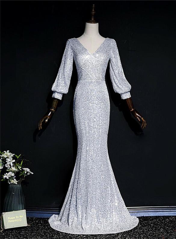 Silver Mermaid Sequins V-neck Long Sleeve Prom Dress