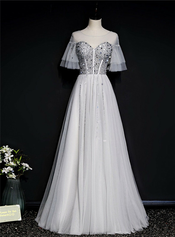 Silver Tulle Short Sleeve Beading Sequins Prom Dress
