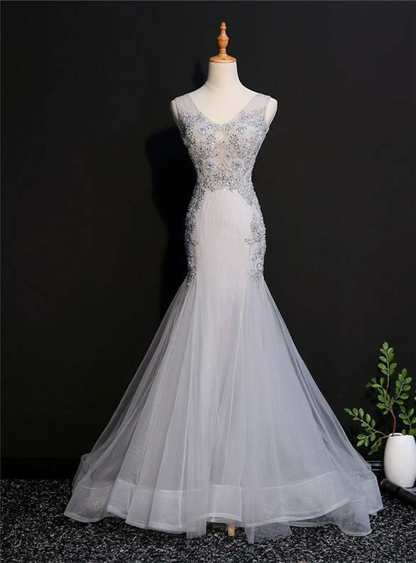 Gray Mermaid Tulle Appliques Beading Prom Dress