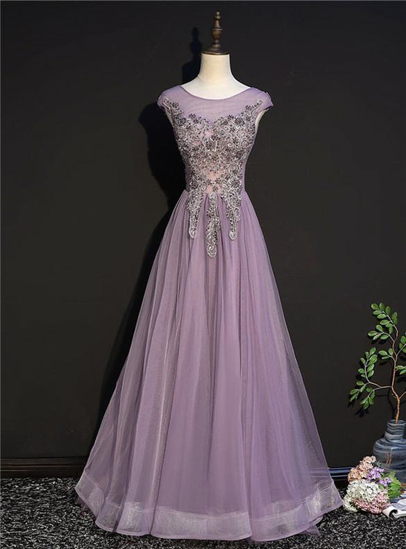 Purple Tulle Appliques Beading Cap Sleeve Prom Dress