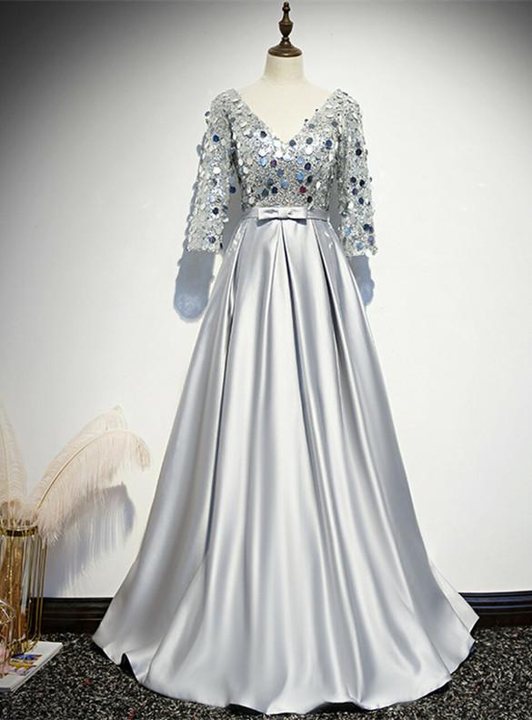 Silver Satin Sequins V-neck Short Sleeve Prom Dress
