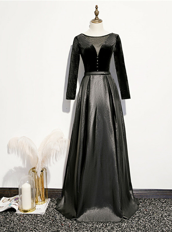 Black Long Sleeve Satin Prom Dress With Button