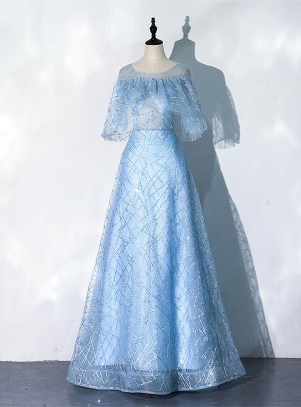 Blue Tulle Sequins Bat Sleeve Prom Dress