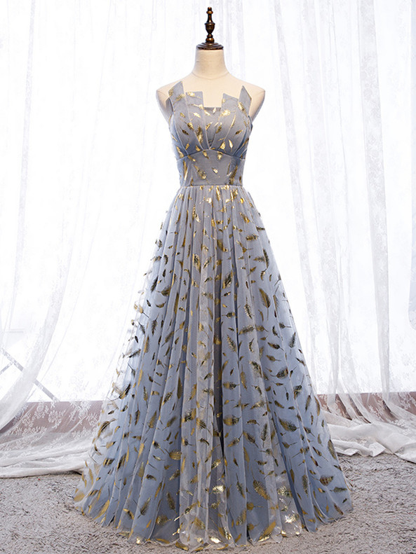 Blue Gray Tulle Strapless Prom Dress