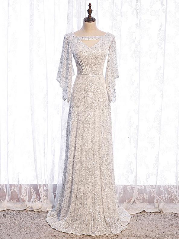 White Sequins V-neck Short Sleeve Prom Dress