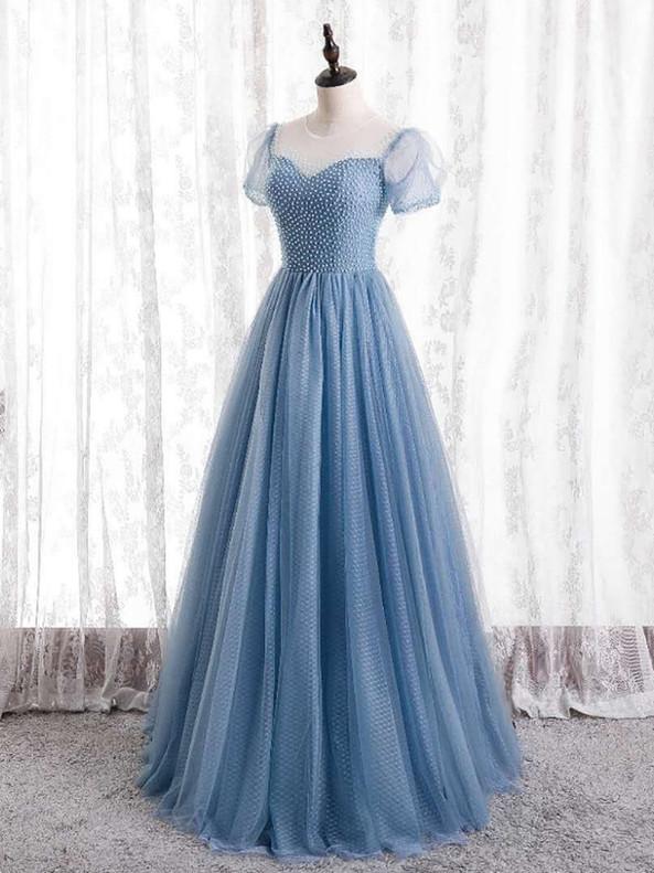 Blue Tulle Short Sleeve Beading Prom Dress