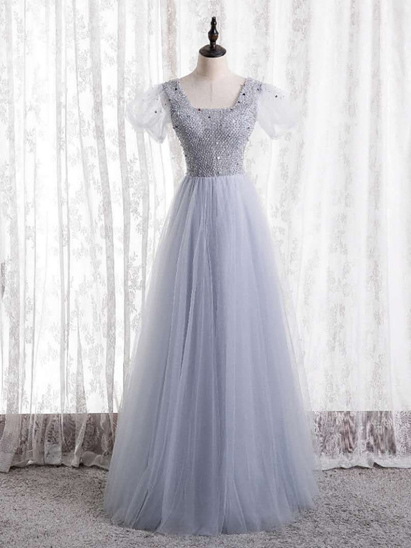 Tulle Puff Sleeve Square Beading Prom Dress