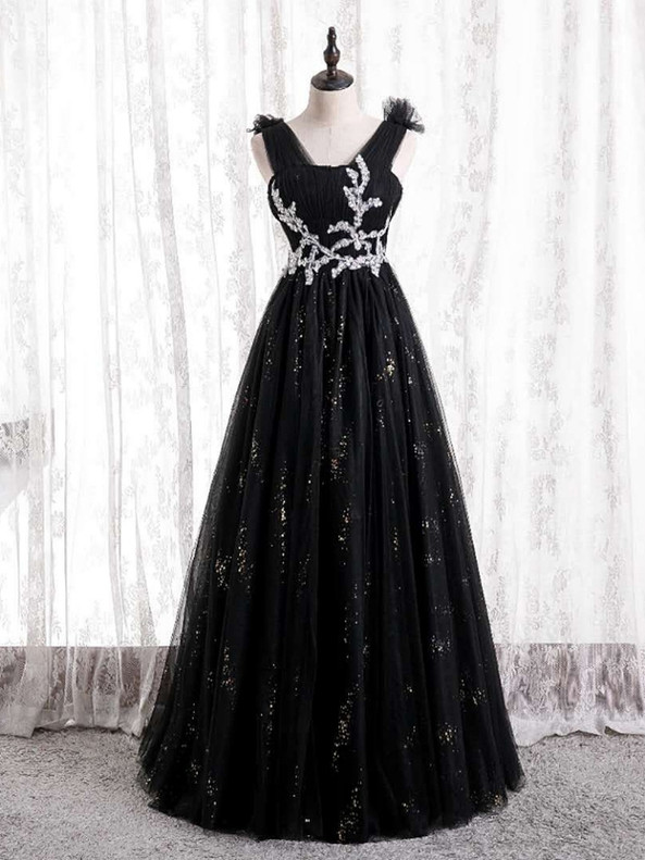 Black Tulle Sequins Pleats Beading Prom Dress