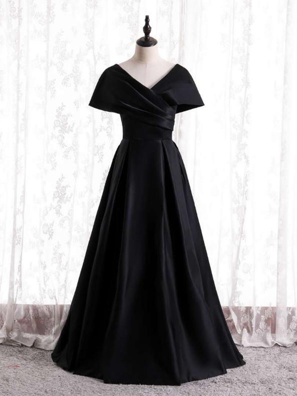 Black V-neck Pleats Satin Prom Dress