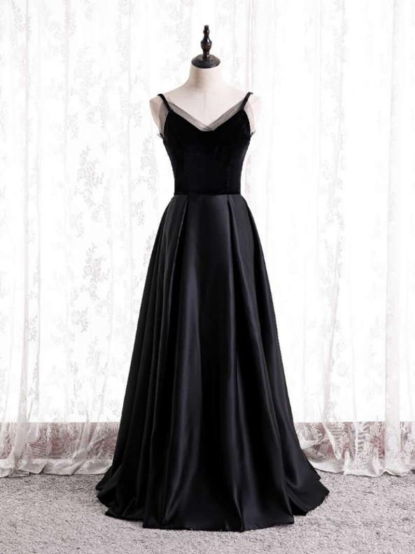 Black Satin Velvet Spaghetti Straps Prom Dress