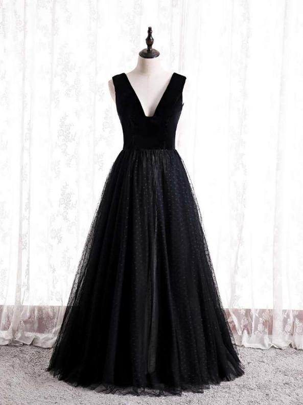 Black Tulle Velvet V-neck Long Prom Dress