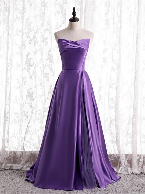 Sexy Purple Satin Strapless Prom Dress