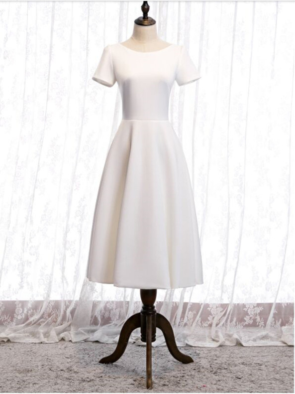 White Short Sleeve Lace Back Tea Length Prom Dress