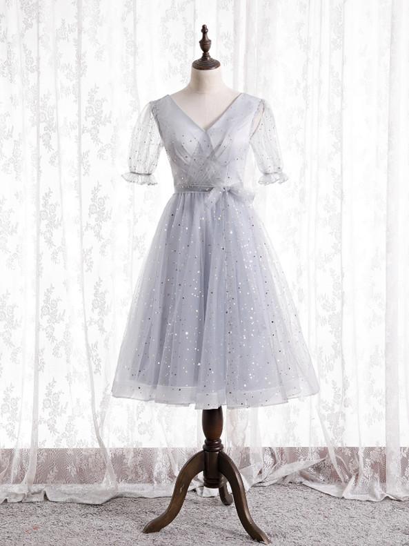 Gray Tulle V-neck Star Sequins Short Sleeve Prom Dress