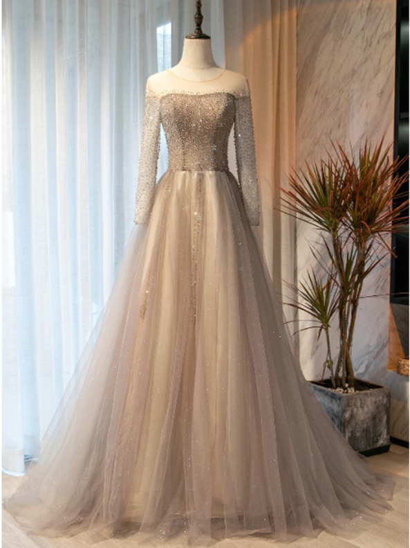 Champagne Gray Long Sleeve Beading Prom Dress
