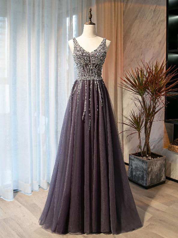 Gray V-neck Beading Sequins Prom Dress