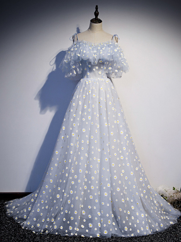 A-Line Blue Tulle Little Daisy Prom Dress
