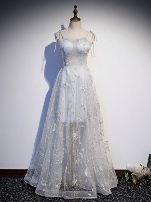 Sexy Gray Tulle Embroidery Spaghetti Straps Prom Dress