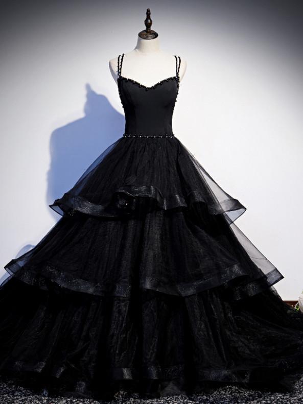 Black Tulle Spaghetti Straps BeadingProm Dress
