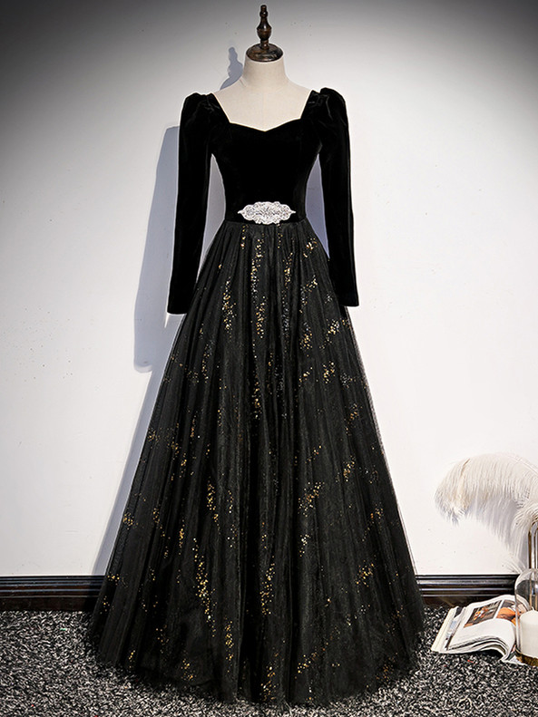 Black Tulle Sequins Square Long Sleeve Prom Dress