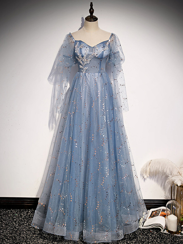 Blue Sequins Tulle Long Sleeve Beading Prom Dress