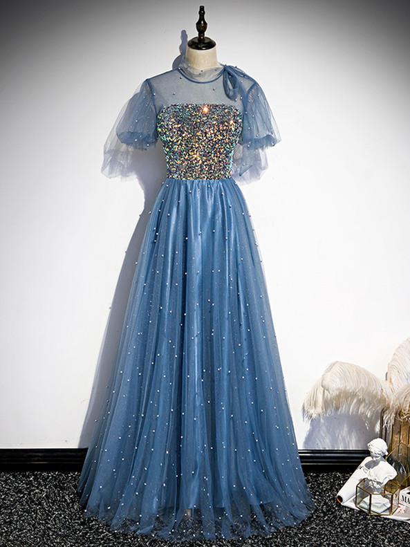 Blue Sequins Tulle Short Sleeve Prom Dress
