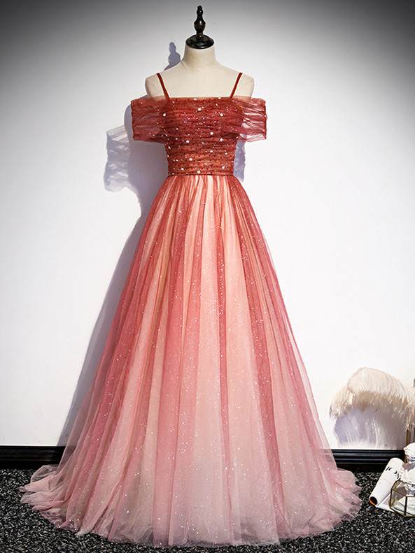 Red Tulle Sequins Spaghetti Straps Beading Prom Dress