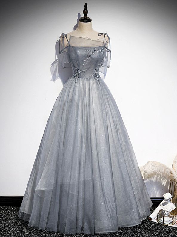 Gray Spaghetti Straps Tulle Sequins Beading Prom Dress