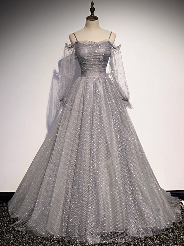 Gray Tulle Sequins Long Sleeve Spaghetti Straps Prom Dress
