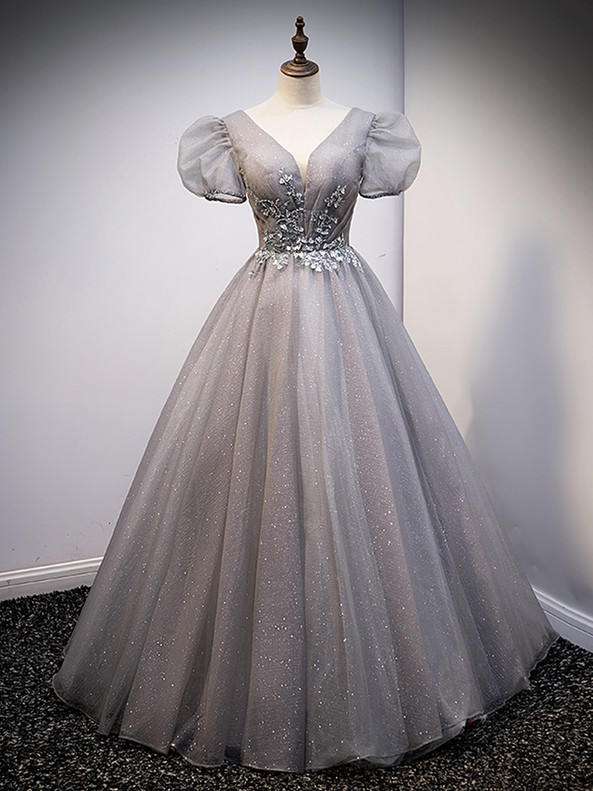 Gray Tulle Sequins Puff Sleeve Beading Prom Dress
